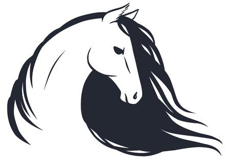 馬の頭。タトゥー スケッチ。ロゴデザイン。