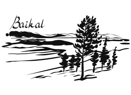 Imitation of ink sketch. Trees, mountains, lake