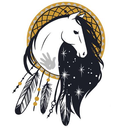caballos negros: La cabeza de caballo. illustraion vector n estilo bohemio