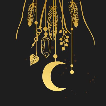 Hanging shaman amulets. illustration