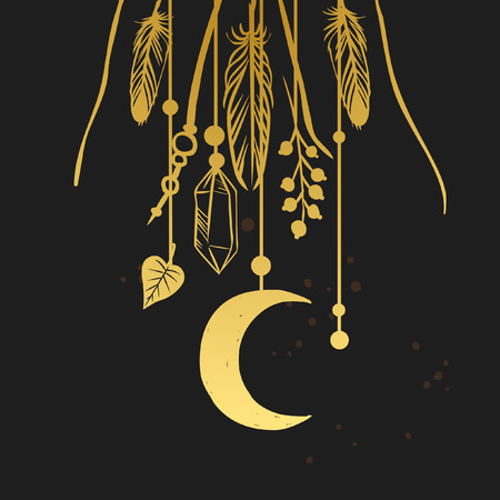 shaman: Hanging shaman amulets. illustration