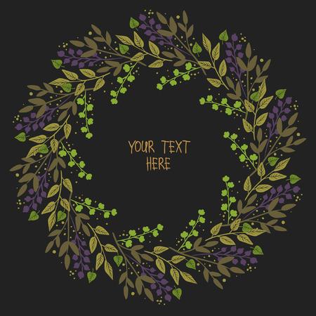Lush floral frame on black background. template