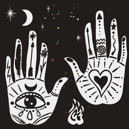 Ornate hands with sacred symbols in bohemian style.