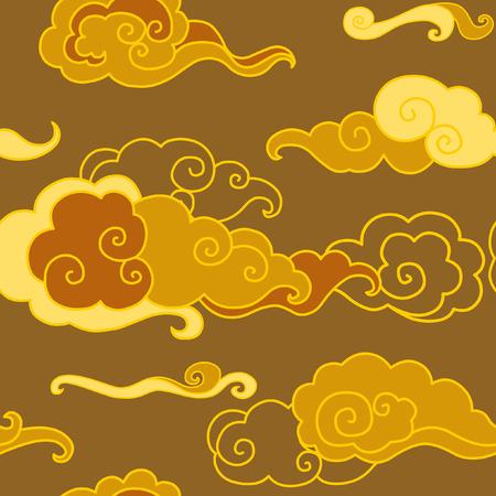 夕焼け空。伝統的なオリエンタル スタイルのシームレス パターン  イラスト・ベクター素材