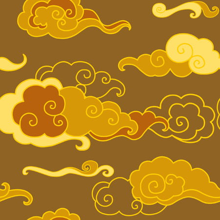 Sunset sky. seamless pattern in traditional oriental style
