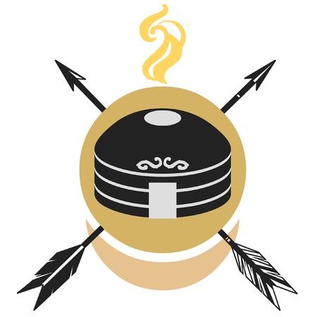 Traditional mongol yurt. Stylized vector illustration