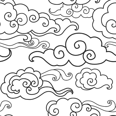 Traditional oriental ornament in black white. Clouds on the sky. Vector seamless pattern