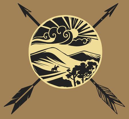 Traditional mongol yurt symbol. Stylized vector illustration