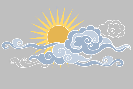 editable eastern asia: Sun in the sky. illustration. Graphic decorative element Illustration