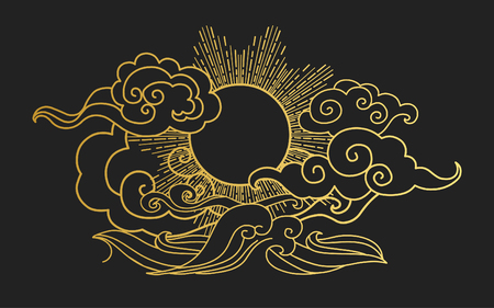 Sun in the sky over the sea. Decorative graphic design element. illustration in oriental style