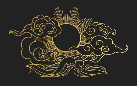 Zon in de lucht boven de zee. Decoratief grafisch ontwerp element. illustratie in oosterse stijl