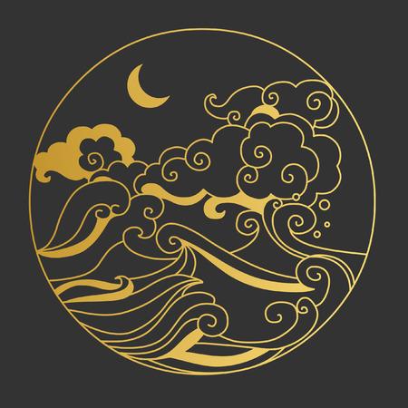 Maan aan de hemel boven de zee. Decoratief grafisch ontwerp element. illustratie in oosterse stijl