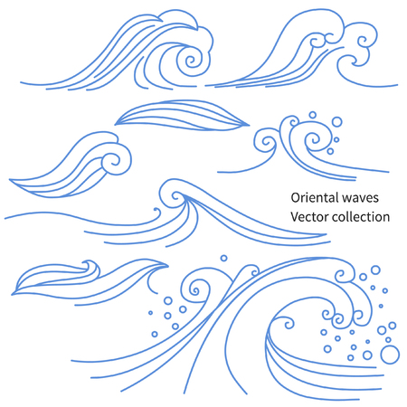 editable eastern asia: Elements of traditional oriental cloudy ornament. collection Illustration