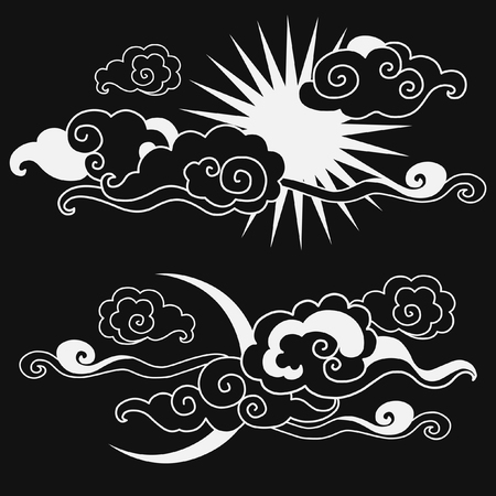 editable eastern asia: Moon & Sun in the sky. Decorative graphic design elements. illustration