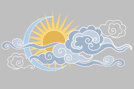 月、太陽、雲。イラスト。グラフィック装飾的な要素