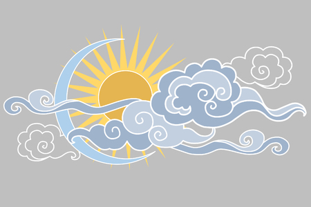 editable eastern asia: Moon, sun and clouds. illustration. Graphic decorative element