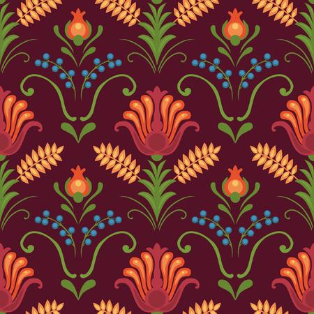 rhythm: Floral seamless pattern. Bright red flowers on dark background