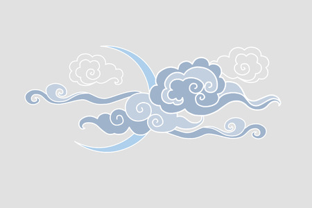 editable eastern asia: Moon and clouds. illustration. Graphic decorative element