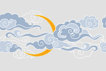 Moon and clouds. illustration. Seamless border Vectores