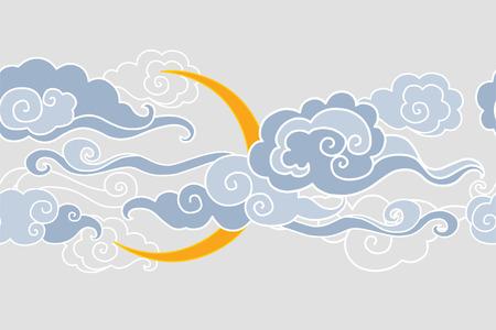 editable eastern asia: Moon and clouds. illustration. Seamless border Illustration