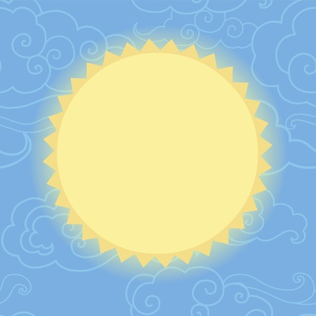 editable eastern asia: Sun in the sky. Stylized sun on seamless background with clouds.