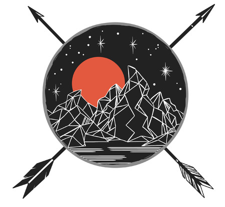 warlike: Mountains under starry sky, over crossing arrows. template in boho style. Emblem, tattoo sketch, decorative element, illustration Illustration