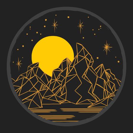 星空の下の山々。自由奔放に生きるスタイルのテンプレート  イラスト・ベクター素材