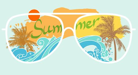 shore: Palm trees on sea shore through glasses. Vector illustration