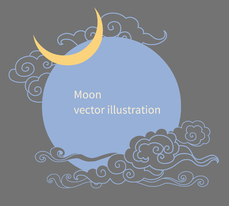 editable eastern asia: Vector template with moon and clouds. Frame with place for your text. Graphic decorative element