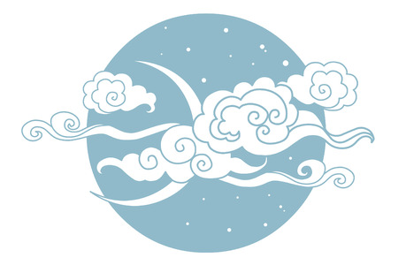 editable eastern asia: Moon, stars and clouds. Vector illustration. Graphic decorative element Illustration