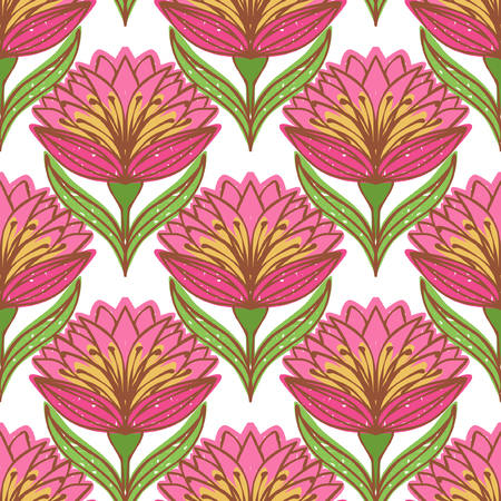 ordered: Floral vector seamless pattern. Bright red flowers on white background