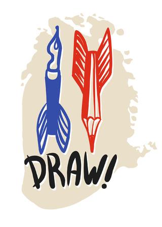 workmanship: Flying pens and pencils as symbols of creativity. Vector hand drawn illustration Illustration