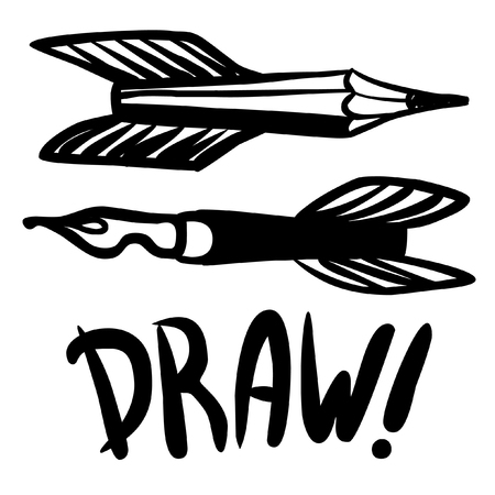 title hands: Flying pens and pencils as symbols of creativity. Vector hand drawn illustration Illustration