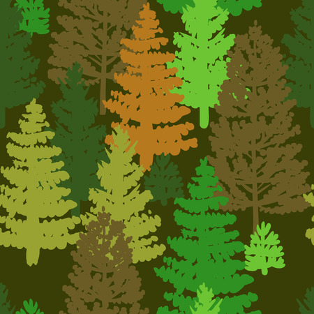 larch: Forest trees. Vector hand drawn seamless pattern