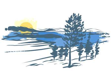 larch: Vector landscape. Imitation of ink sketch. Trees, mountains, lake