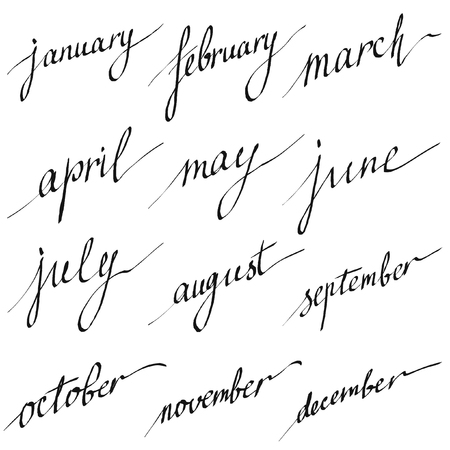 1 2 month: Handwritten names of months: December, January, February, March, April, May, June, July, August, September, October, November. Lettering for calendar, vector set