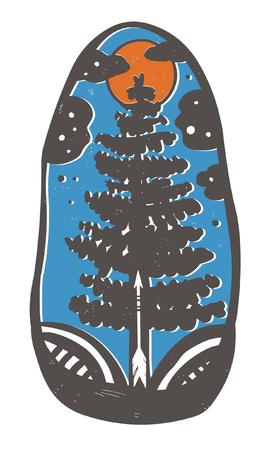 linocut: Coniferous tree. Hand drawn vector illustration in bohemian style.
