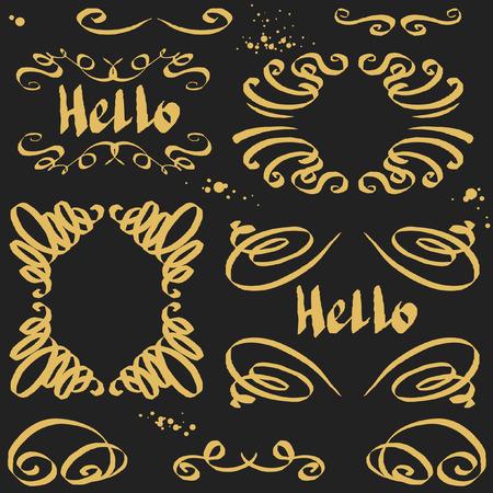 calligraphic design: Calligraphic elements - black design elements Illustration