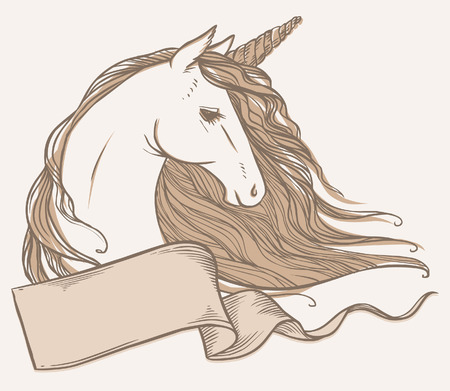 historical romance: Unicorn. Vector hand drawn illustration. Banner with place for your text