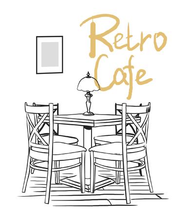 Cafe interior. Vector hand drawn illustration. Stock Illustratie