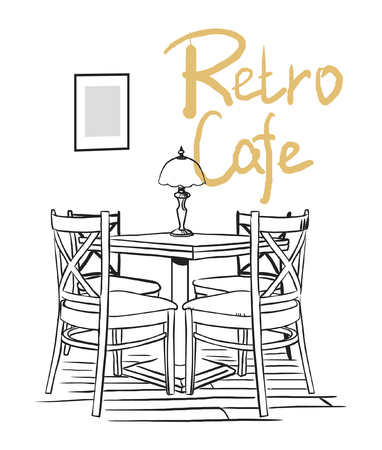 Cafe interior. Vector hand drawn illustration. Иллюстрация