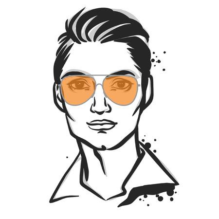 eyewear fashion: Young man in sunglasses. Vector fashion illustration. Illustration
