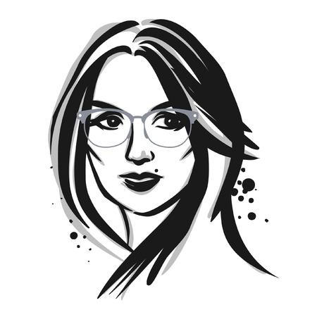 eyeglass: Young woman in eyeglasses. Vector fashion illustration.