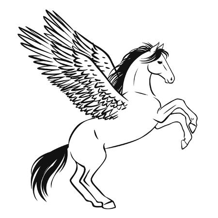 allure: Pegasus. Vector hand drawn illustration