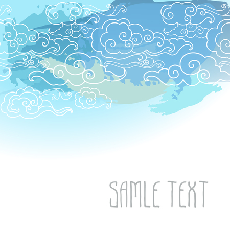 blue sky with clouds: Vector cart template with cloudy pattern in oriental style