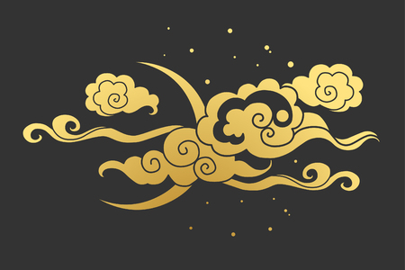editable eastern asia: Moon and clouds. Vector illustration. Graphic decorative element