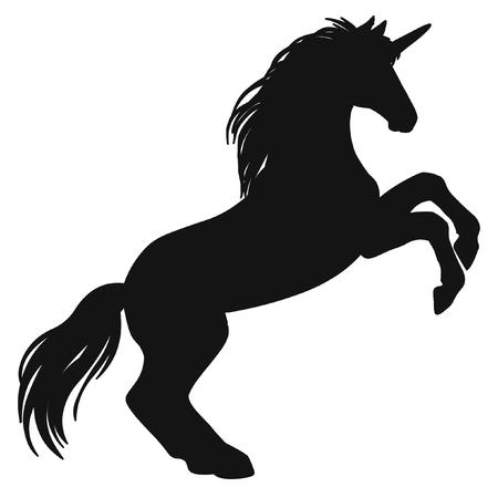 Rearing unicorn. Black silhouette. Hand drawn vector illustration