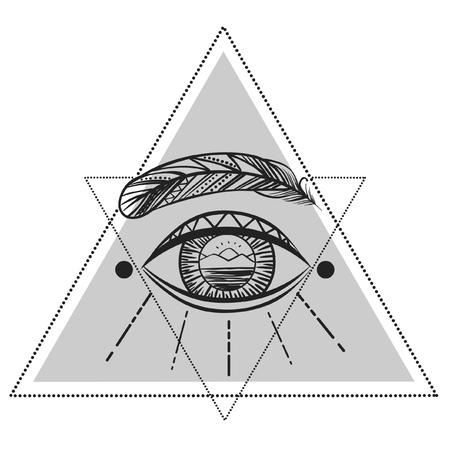 白い背景の上の見る目。ベクトルの図。タトゥーのデザイン