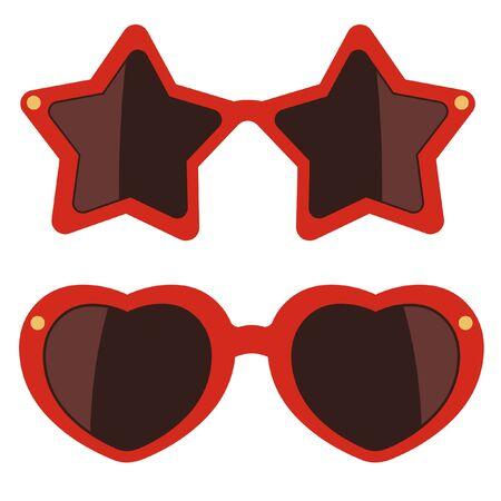 eyewear: Sunglasses on white background. Party eyewear. Vector illustration Illustration