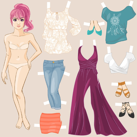 up skirt: Young pretty girls hand drawn in anime style. Dress up doll. Vector illustration